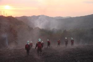 Лесной пожар ©Пресс-служба ЮРПСО МЧС России