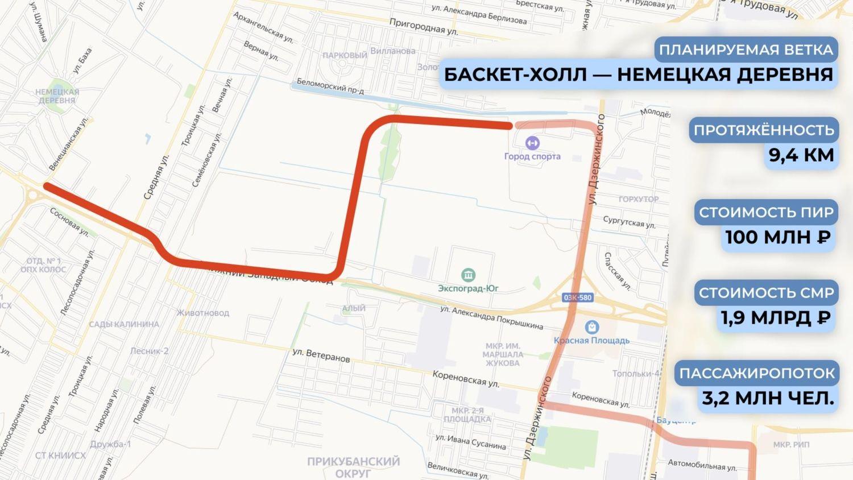 Схема трамвайной линии от «Баскет-Холла» до «Немецкой деревни» ©Графика пресс-службы администрации Краснодара