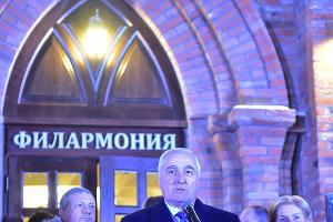 Президент Южной Осетии Леонид Тибилов на открытии филармонии во Владикавказе ©Антон Подгайко, ЮГА.ру