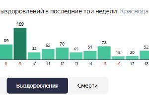 Статистика по выздоровлениям COVID-19 на Кубани ©Графика с сайта yandex.ru/covid1
