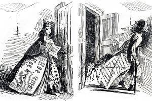 Статья до и после цензуры ©Карикатура Аполлона Б. «Искра», 1863 г., №34 (675), стр. 456. Гравер: П. Куренков. Находится в общественном достоянии