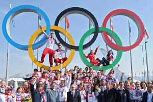 Владимир Путин с российскими олимпийцами ©Фото Юга.ру
