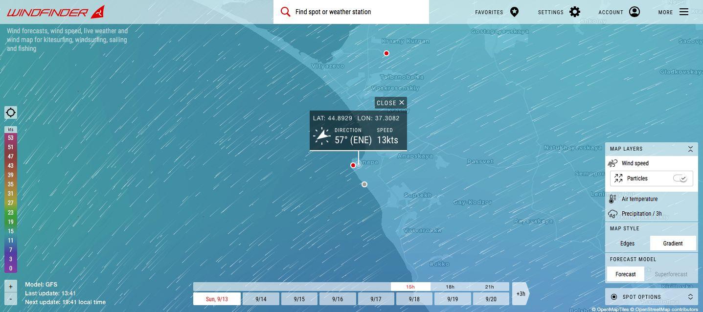 Анапа на карте направления ветра ©Скриншот страницы сайта www.windfinder.com