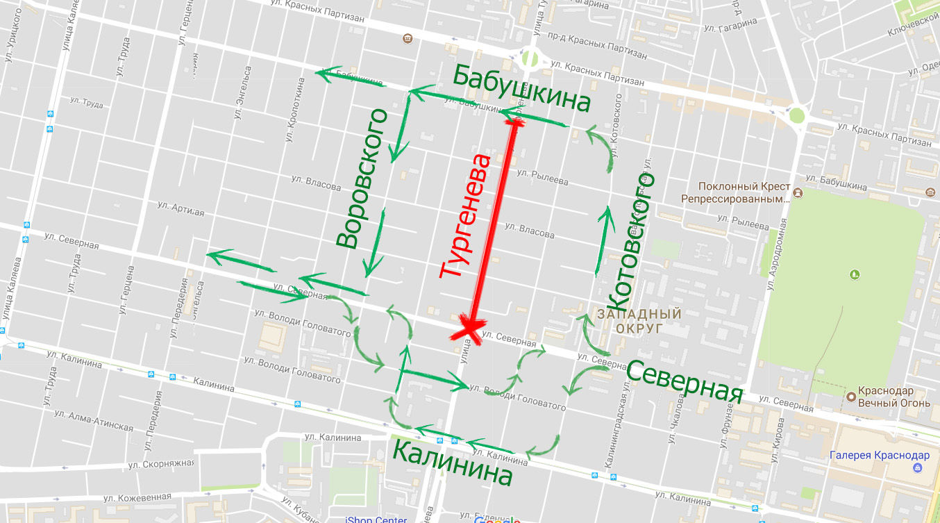 Схема объезда Тургенева на 2-м этапе ремонта ©Скриншот карт Google