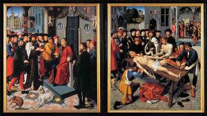 «Суд Камбиса», завершенный в 1498 году, был написан для зала судебных заседаний в ратуше Брюгге, чтобы напоминать о необходимости судить справедливо.
