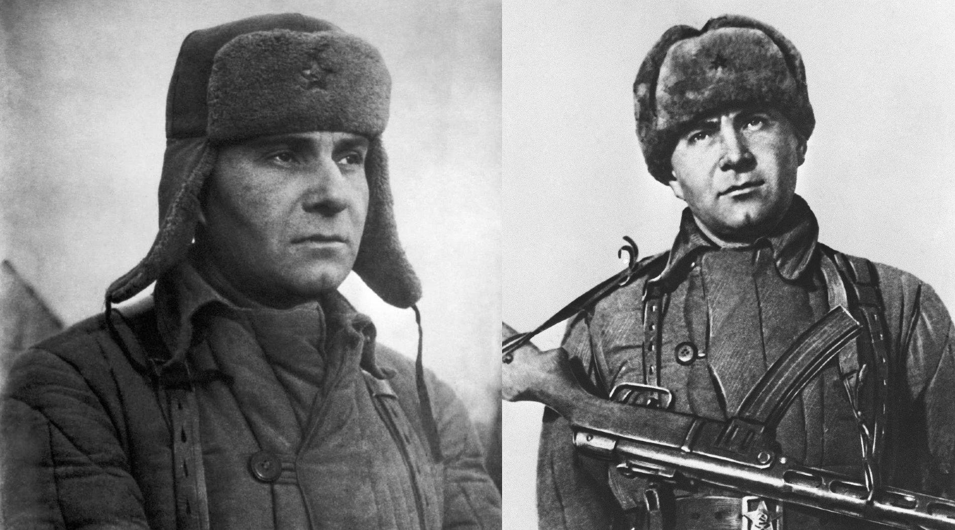 Две фотографии майора Куникова на Малой земле — в реальной обстановке и постановочная ©Фото с сайта waralbum.ru