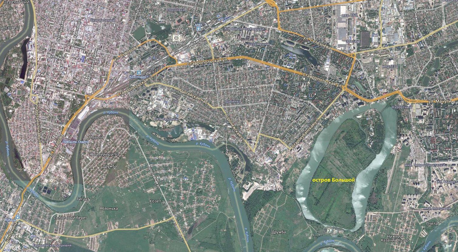 Большой остров на карте Краснодара