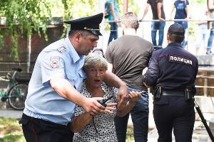 Протестная акция против пенсионной реформы в Краснодаре ©Фото Елены Синеок, Юга.ру