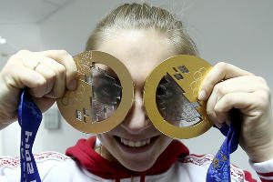 Скелетонистка Елена Никитина - бронзовая призерка Игр-2014 ©РИА Новости