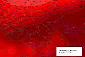 Максимальная температура 6 августа ©Изображение с сайта Гисметео, gismeteo.ru