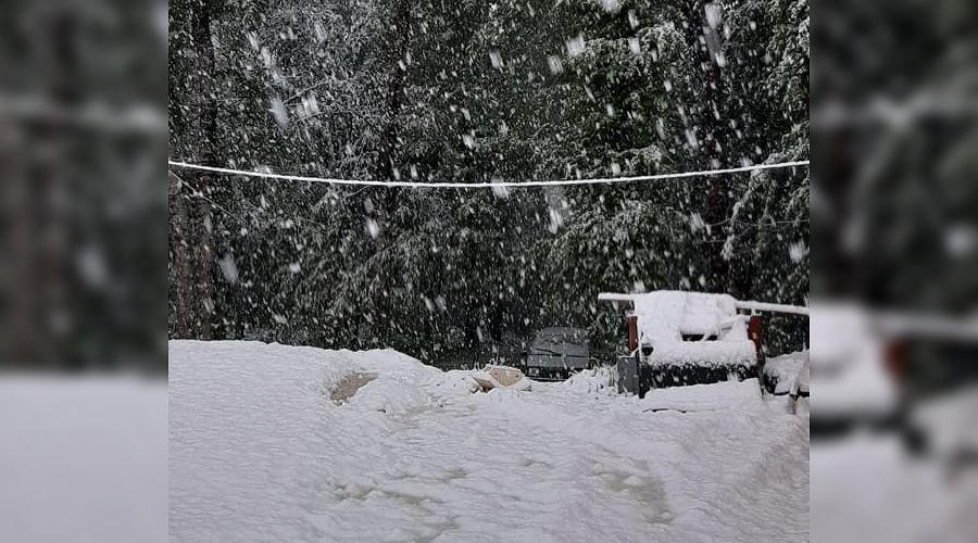 Майский снег в Адыгее ©Фото предоставлено пресс-службой администрации Майкопского района