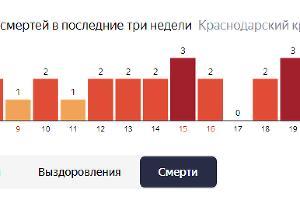 Статистика по летальным случаям от коронавируса на Кубани ©Графика с сайта yandex.ru/covid19