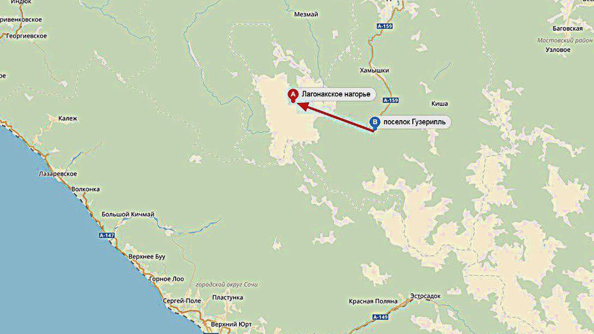 Гузерипль и плато Лагонаки соединят дорогой ©Графика сервиса «Яндекс.Карты»