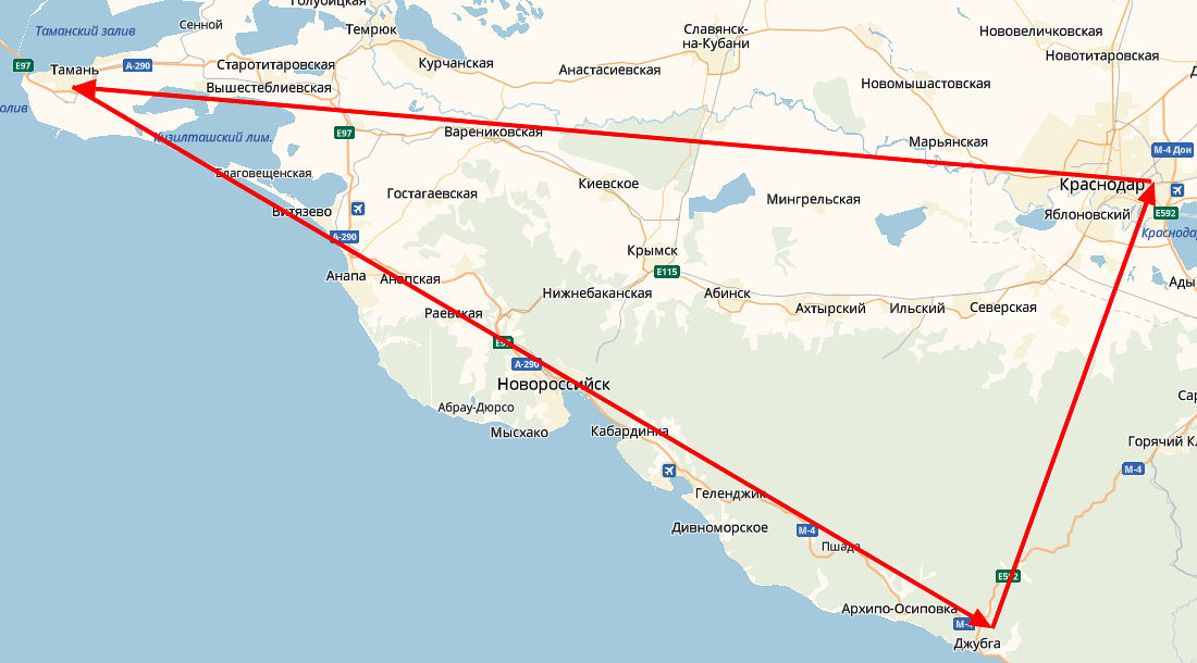 «Большой туристический треугольник» Кубани ©Графика сервиса «Яндекс.Карты»