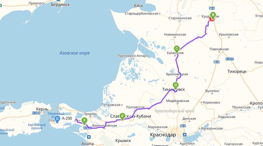 Самый короткий маршрут от федеральной трассы М4 Дон к Крымскому мосту, карта