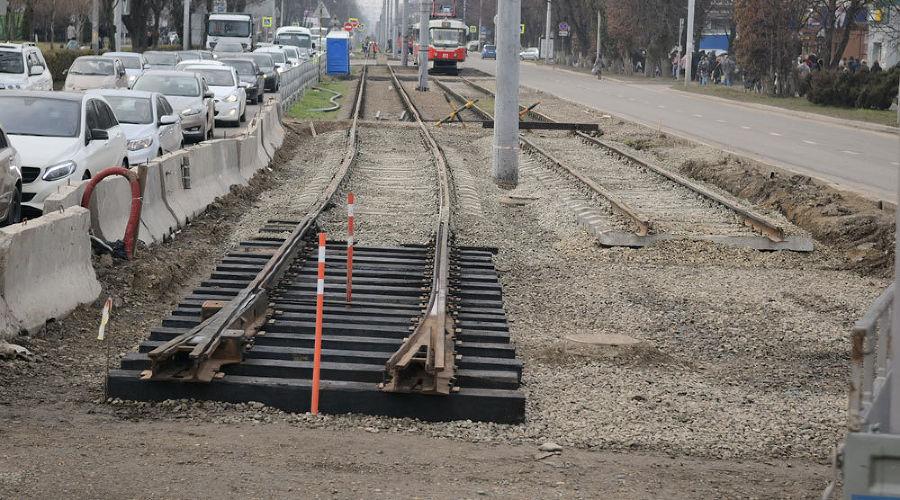 Строительство новой трамвайной линии на улице Московской ©Пресс-служба администрации Краснодара