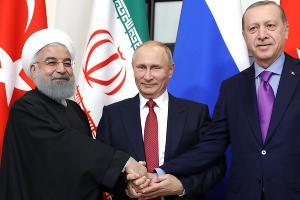 Хасан Рухани, Владимир Путин и Реджеп Тайип Эрдоган ©Фото пресс-службы Кремля