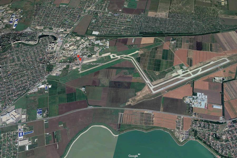 Предполагаемое расположение в пригороде Краснодара будущего транспортного узла, который объединит воздушный, железнодорожный и автотранспорт ©Скриншот панорамы Google Earth