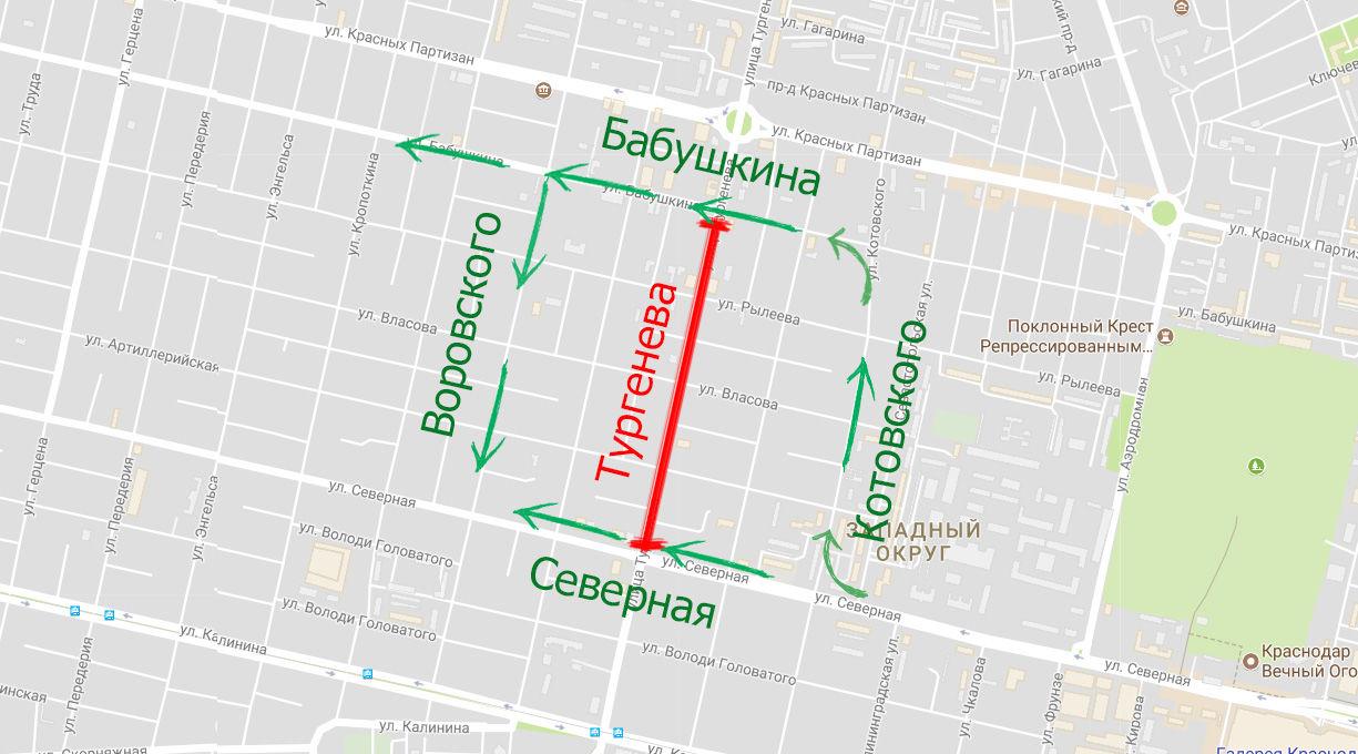 Схема объезда Тургенева на 1-м этапе ремонта ©Скриншот карт Google