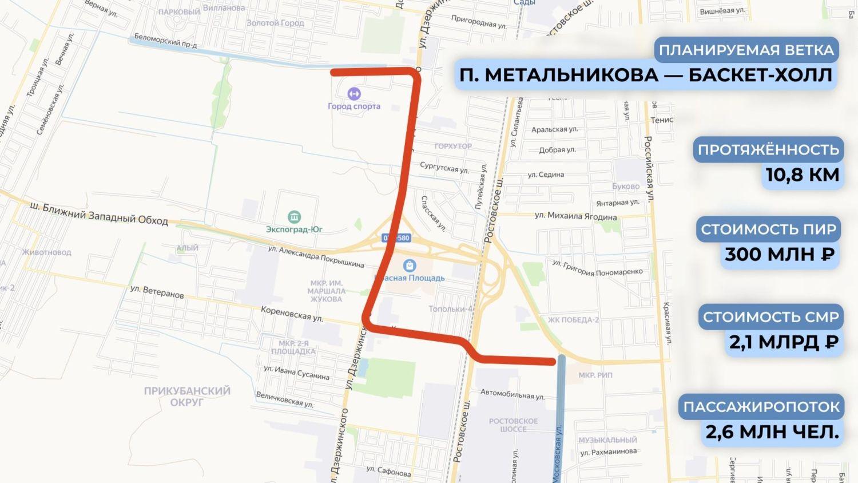 Схема трамвайной линии от Московской до «Баскет-Холла» ©Графика пресс-службы администрации Краснодара