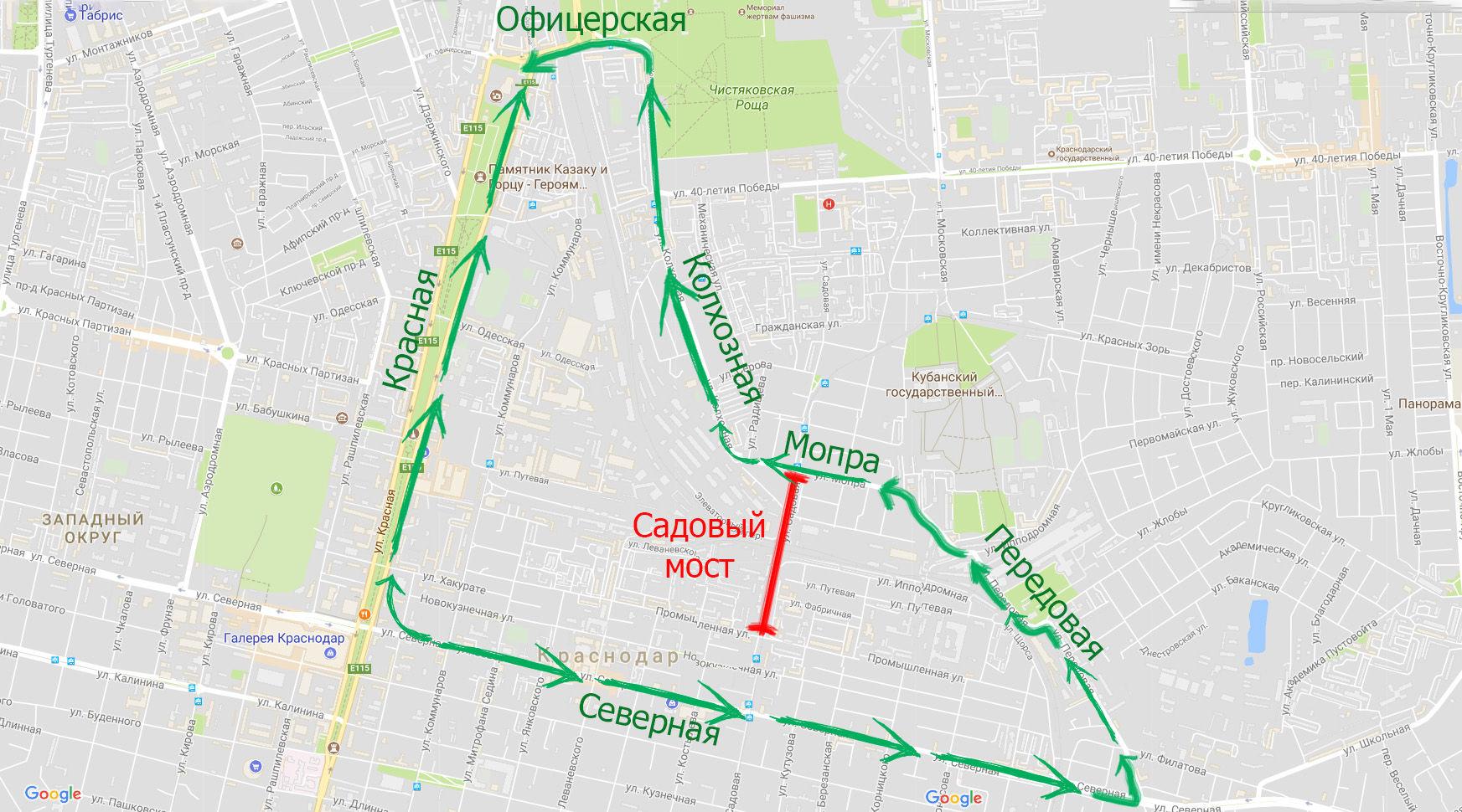 Схема объезда Садового моста ©Скриншот карт Google