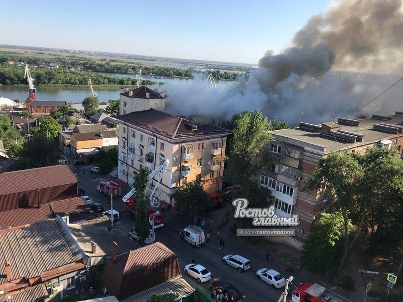 Вжилом доме вцентре Ростова произошел пожар 3-го ранга трудности