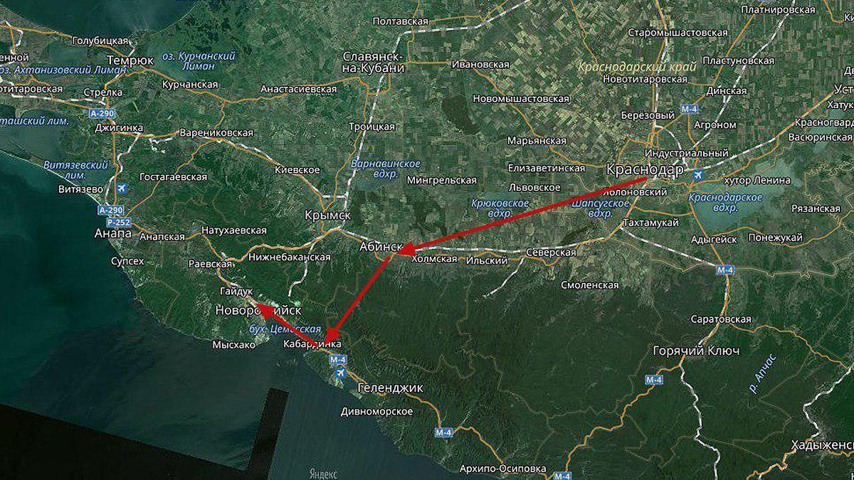 Предполагаемый маршрут новой трассы Краснодар — Абинск — Новороссийск ©Графика сервиса «Яндекс.Карты»