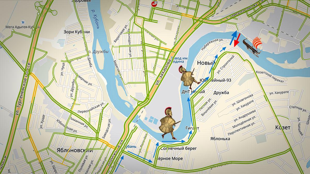Путь через паромную переправу ©Графика сервиса «Яндекс.Карты»