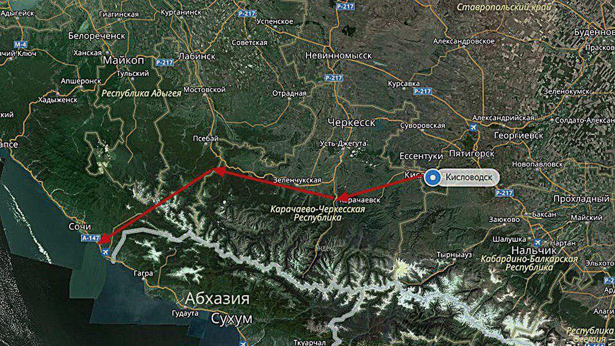 Предполагаемый маршрут дороги из Кисловодска в Адлер ©Графика сервиса «Яндекс.Карты»