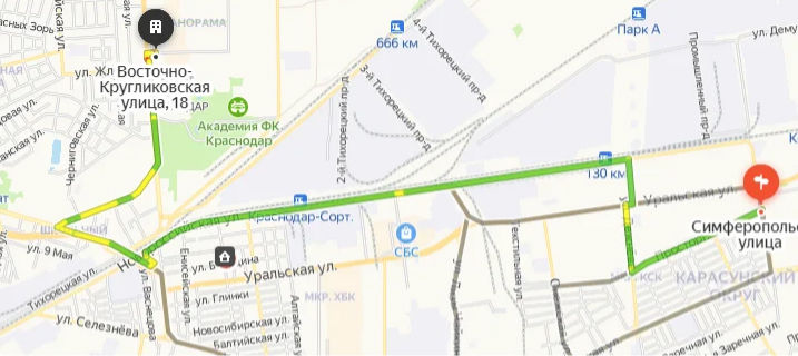 Кратчайший автомобильный маршрут из КМР к стадиону «Краснодар» ©«Городские решения»