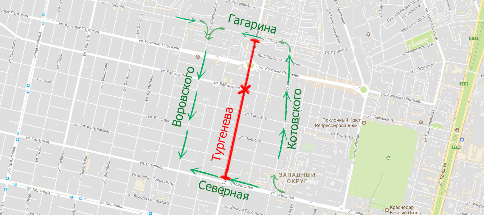 Схема объезда Тургенева на 3-м этапе ремонта ©Скриншот карт Google