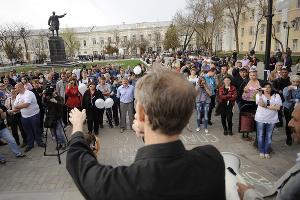 Митинг в поддержку экс-кандидата в мэры Астрахани Олега Шеина ©Михаил  Мордасов. ЮГА.ру