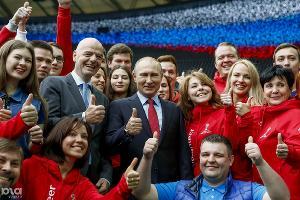 Владимир Путин и президентом ФИФА Джанни Инфантино посетили академию и стадион ФК «Краснодар». Краснодар, 23 мая ©Фото Юга.ру