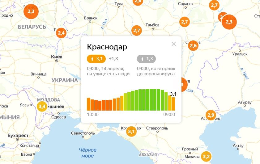 © Скриншот с сайта yandex.ru/maps/covid19/isolation