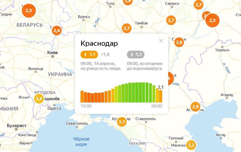 ©Скриншот с сайта yandex.ru/maps/covid19/isolation