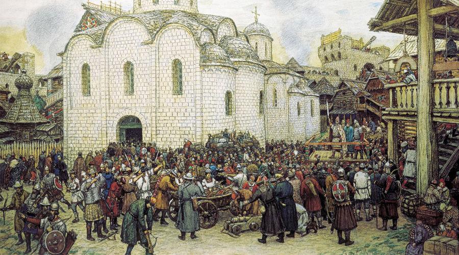 Оборона Москвы от хана Тохтамыша ©Картина Аполлинария Васнецова, wikimedia.org