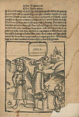 Семья нищих на пути в город. Титульная страница Liber vagatorum (1510)