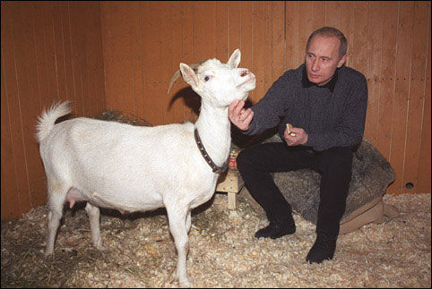 Владимир Путин с подарком Юрия Лужкова © Фото с сайта commons.wikimedia.org