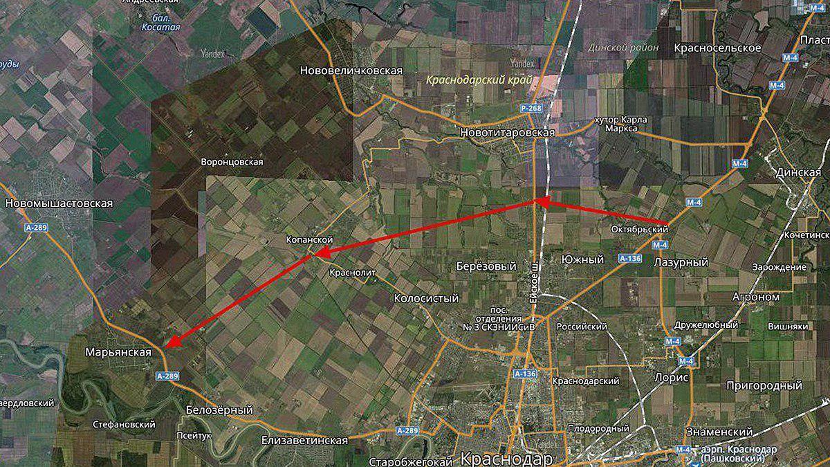 Предполагаемый маршрут Дальнего Западного обхода города Краснодара ©Графика сервиса «Яндекс.Карты»