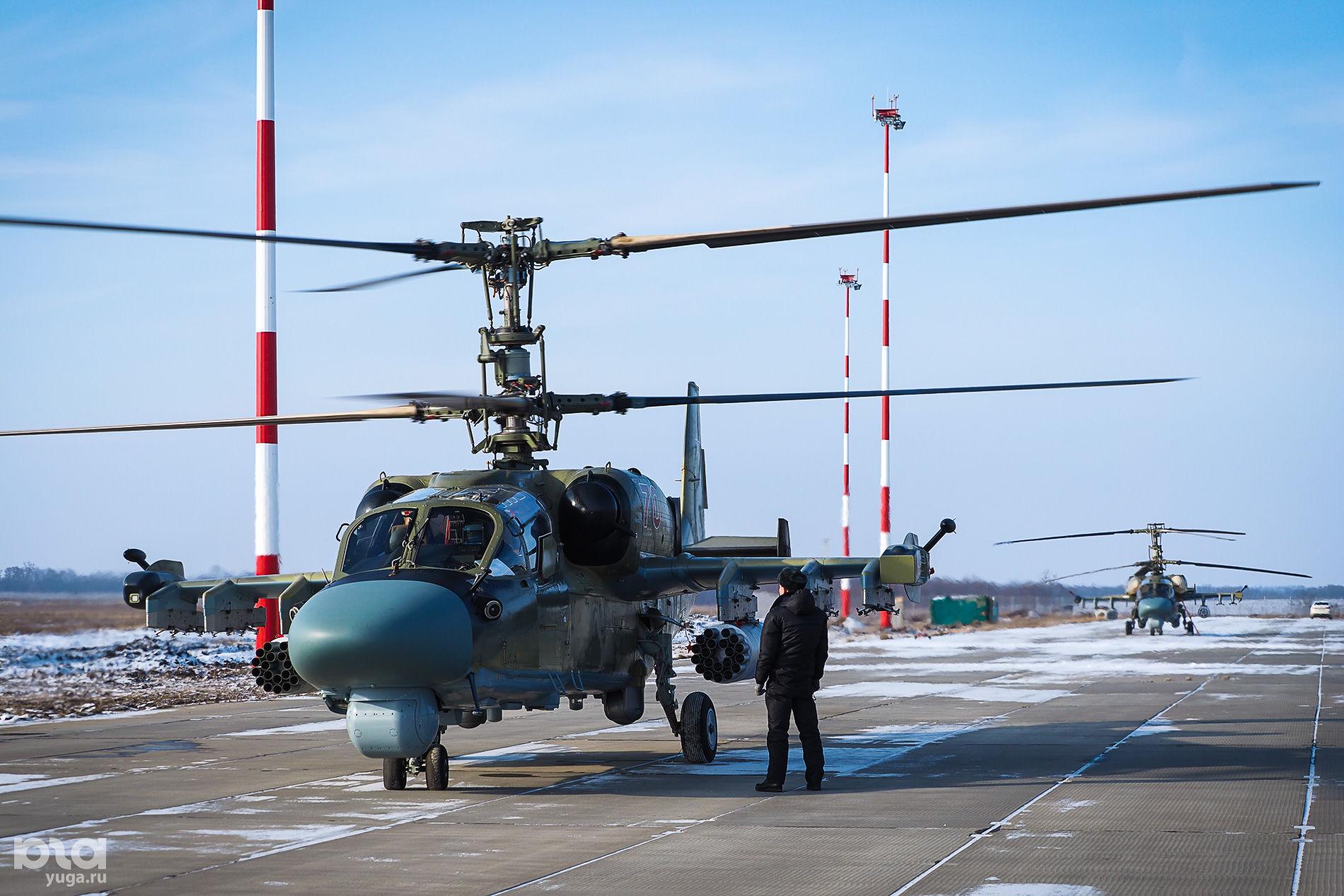 Вертолет Ка-52 «Аллигатор» на авиабазе в Кореновске ©Виталий Тимкив, Юга.ру