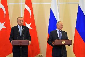 Реджеп Тайип Эрдоган и Владимир Путин ©Фото пресс-службы администрации президента РФ