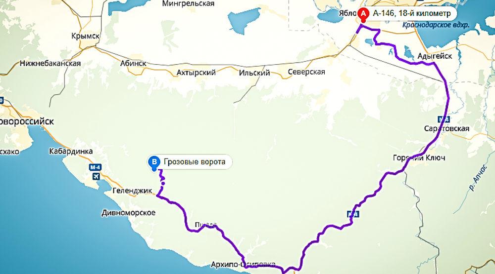 Маршрут к Грозовым Воротам ©Графика сервиса «Яндекс.Карты»