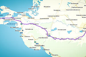 Краснодарская часть пути через Крымск ©Графика сервиса «Яндекс.Карты»
