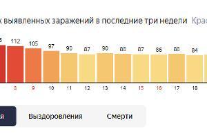 Статистика по заражениям COVID-19 на Кубани ©Графика с сайта yandex.ru/covid1