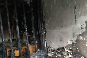 Последствия поджога офиса «Мемориала» в Назрани ©Фото с сайта memohrc.org