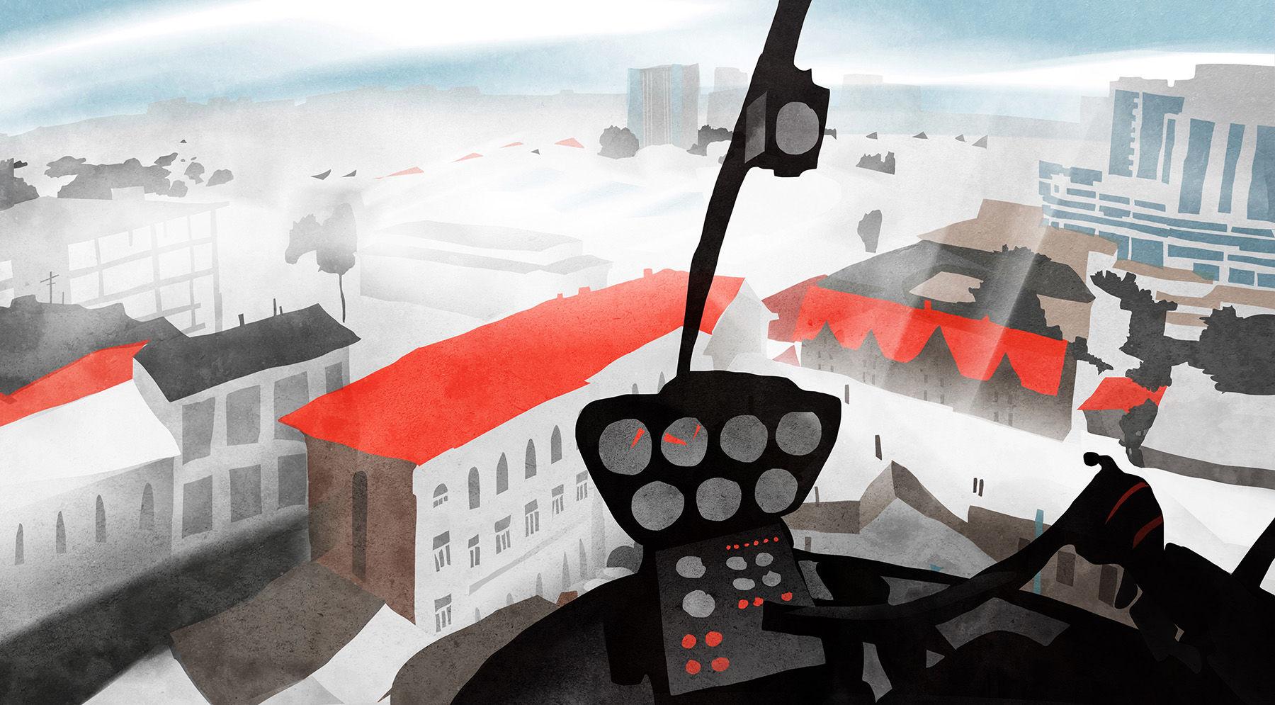 Небоскреб с вертолетной площадкой на крыше ©Иллюстрация Екатерины Ситниченко