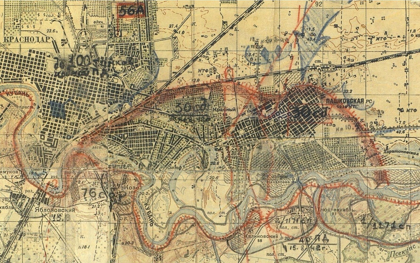 Карта позиций 30-й Иркутской дивизии 10 августа 1942 года ©Фото с сайта pamyat-naroda.ru
