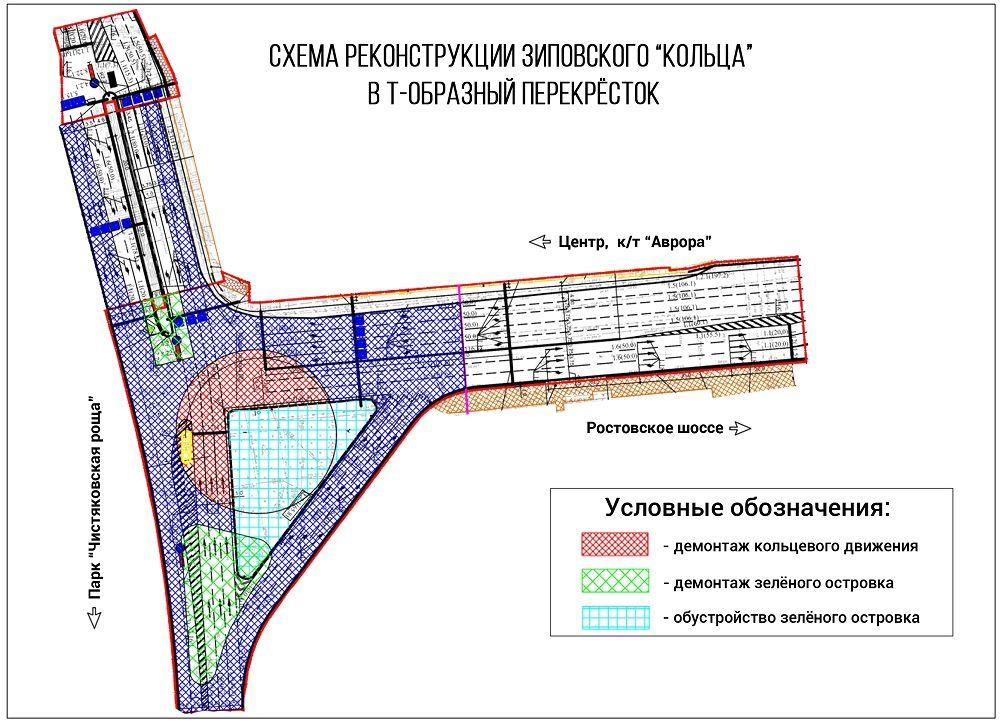 Схема реконструкции Зиповского кольца ©Фото Юга.ру