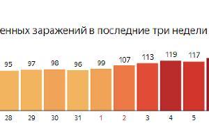 Статистика по заражениям на Кубани ©Графика с сайта yandex.ru/covid19