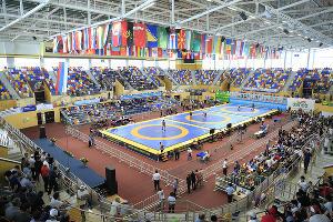 Дворец спорта и молодежи им.Али Алиева ©Фото с сайта kaspeuro2018.ru